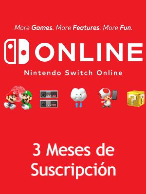 Nintendo Switch Online 3 Meses de Suscripcion